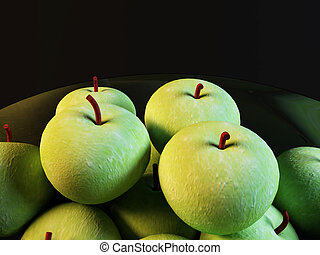 many green apples on black background
