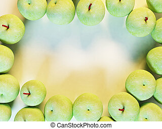 many green apples on white background
