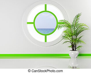 the plant and the round window - Interior design scene with...