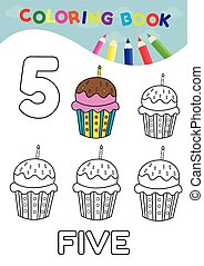 coloring book number five with 5 cupcakes vector for kids...