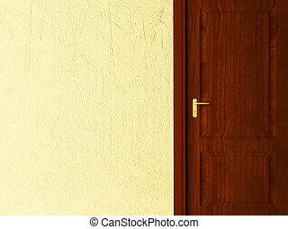 brown door on yellow background