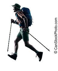 man trekker trekking running happy  silhouette