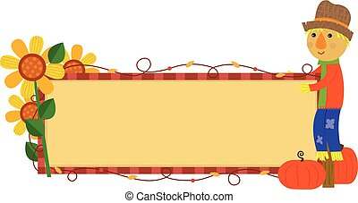 Scarecrow Fall Banner - Festive autumn banner with...