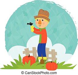 Scarecrow With Bird - Clip art of a scarecrow and a bird...