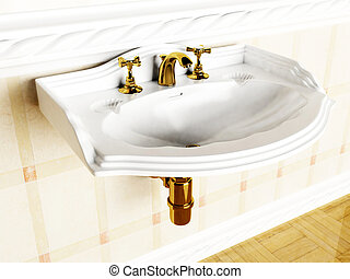 beautiful classic sink in the interior