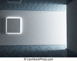 Empty blue room with a picture