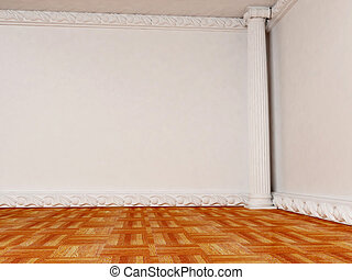 Empty bright room with a column