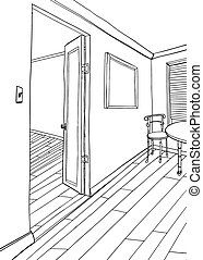 Outline of Room with Frame and Furniture