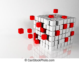 abstract composition with the cubes on white background