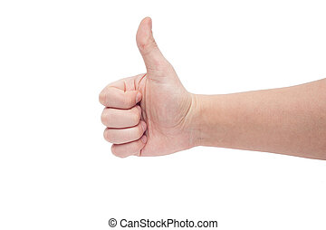 Right hand thumb up isolated on white background