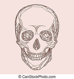 Vector human skull in profile doodle style