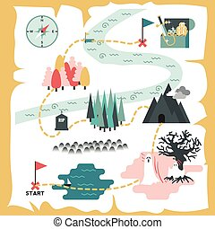 Treasure Map - Illustration of creative treasure map flat...