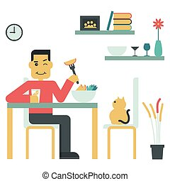 Eat Good Food - Illustration of young man eat salad at home