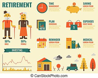 Retirement - Illustration of retirement infographic with old...