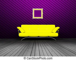 Modern  interior design of living room with a yellow sofa