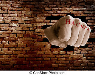Firewall breach - Hacker fist punching thru a brick wall,...