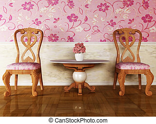 Classic interior design with two chairs and the table