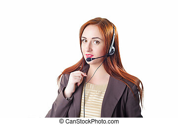 Call center operator redhead business woman