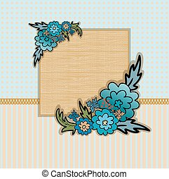 Wooden frame with flowers