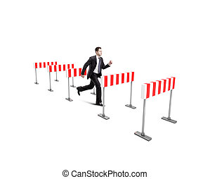 businessman jumping over barrier on a white background