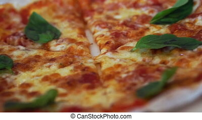 Pan camera between two pizzas - Video of Pan camera between...