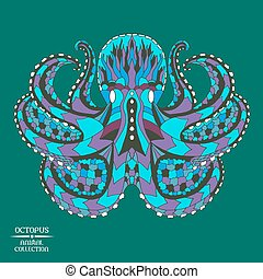 Zentangle stylized octopus. Sketch for tattoo or t-shirt. -...