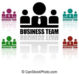 business team icons set - colorful style business team...