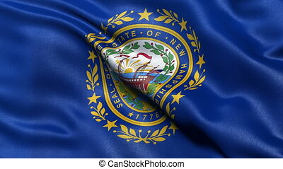 New Hampshire state flag loop - Realistic New Hampshire...