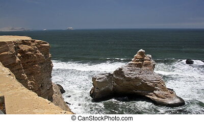 Seascape in Paracas, Peru - View of the seascape of the...