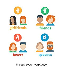 Bright icons and avatars of these types of social relations...