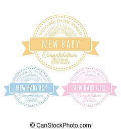 Blue and pink badges for newborn