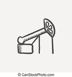 Pump jack oil crane sketch icon for web and mobile. Hand...