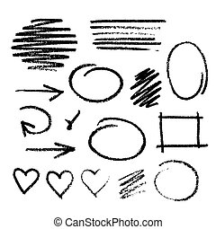 Handwritten coal on a white paper - Collection of graphic...