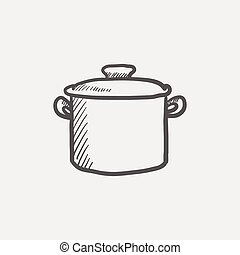 Casserole sketch icon for web and mobile. Hand drawn vector...