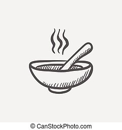 Bowl of hot soup with spoon sketch icon for web and mobile...