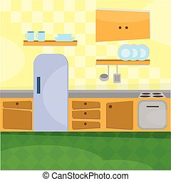 Kitchen interior and cooking utensils - vector illustration