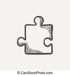 Jigsaw puzzle sketch icon for web and mobile Hand drawn...
