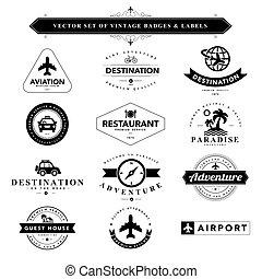 Set of black & white vintage badges and labels - Set of...