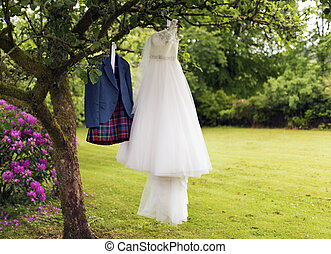 Kilt and Wedding dress - Shot of a Kilt and Wedding dress