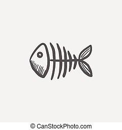 Fish skeleton sketch icon