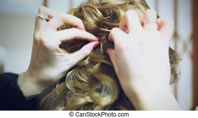 bride at hairdressing salon before wedding - A bride at...