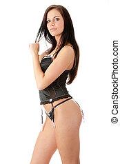 Pretty woman wearing black lingerie