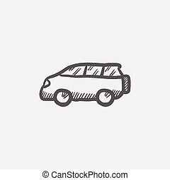 Minivan sketch icon for web and mobile. Hand drawn vector...