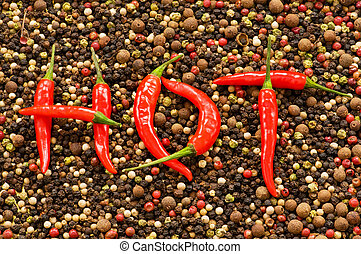 The word HOT on the pepper background