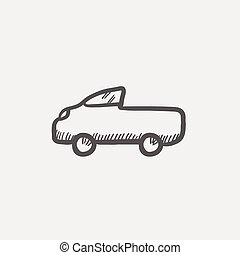 Pick up truck sketch icon for web and mobile Hand drawn...