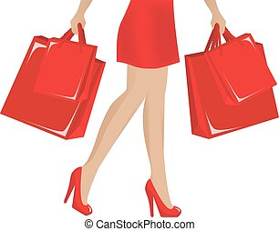 happy Shopping - female legs in red shiny shoes and a hand...