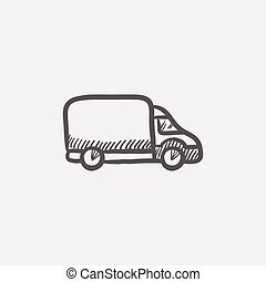 Delivery van sketch icon for web and mobile. Hand drawn...