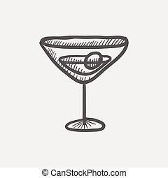 Cocktail drink with cherry sketch icon for web and mobile....