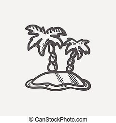 Two plam trees sketch icon for web and mobile. Hand drawn...
