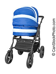 blue baby stroller isolated on white background
